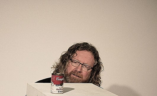 Tim Wharton with Campbell's soup can