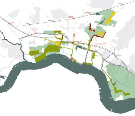 (Spatial) opportunity map for London's Eastern expansion zone, the Thames Gateway (source: Bohn&Viljoen 2004)