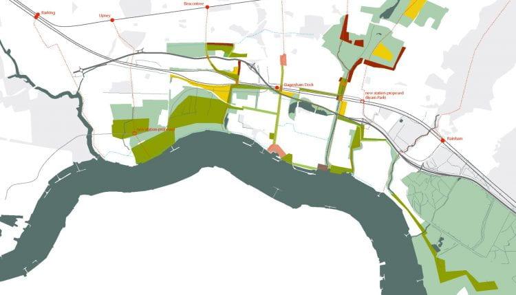 (Spatial) opportunity map for London's Eastern expansion zone, the Thames Gateway (source: Bohn&Viljoen 2004)