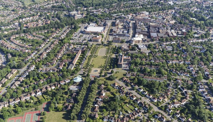 Aerial view of Letchworth Garten City (source: Letchworth Garden City Heritage Foundation www 2019)