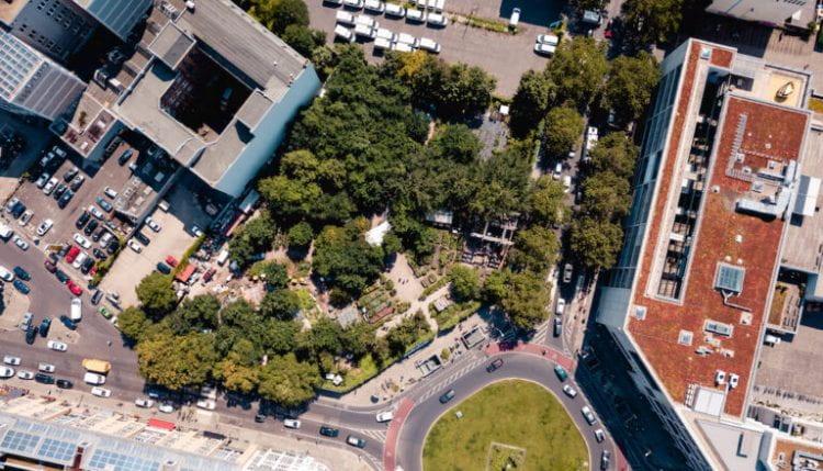 Aerial view of Berlin's community garden Prinzessinnengarten (source: Prinzessinnengarten/Nachbarschaftsakademie www 2019)