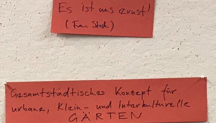 After the actual live testing of the website, participants discussed its role in the development of Berlin's city-wide concept for community gardens and allotments. (source: Beatrice Walthall 2019)