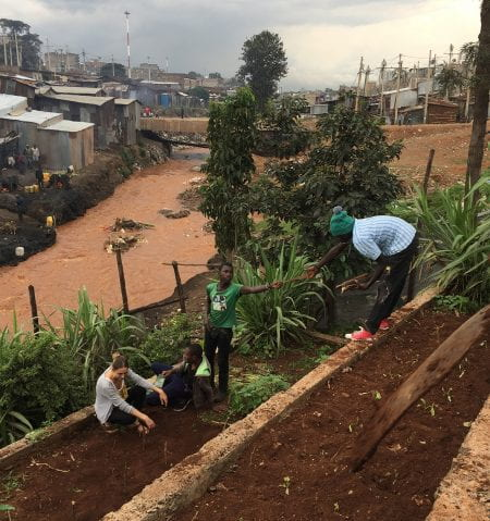 Co-installing the Mathare Shamba in the Mathare neigbourhood in Nairobi became part of a practice-based Masters' thesis at the course. (source: Katherine Cashman, Community Gardening in Mathare, Nairobi (Masters' thesis) 2018)