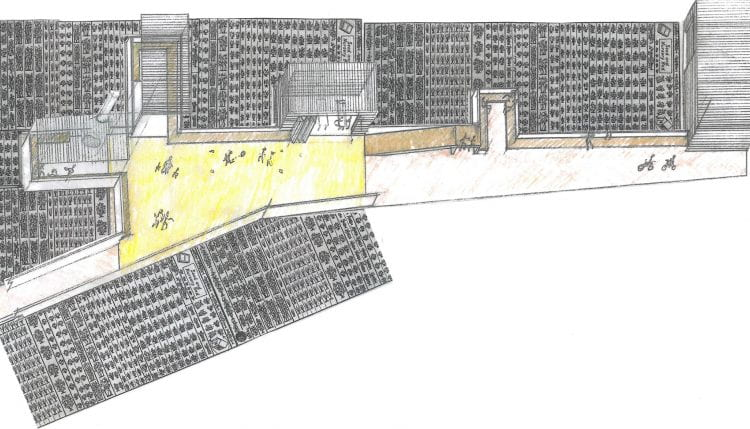 """Proposal for an """"urban agriculture path"""" and public gathering space passing through part of Mr Shiraishi's farm in Nerima City, Tokyo. (source: Andre Viljoen 2019)"""