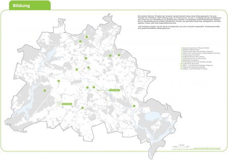 Map of Berlin showing urban agriculture projects with an educational focus from the exhibition CarrotCity and Die Produktive Stadt. (source: FG Stadt & Ernährung (Prof. Bohn) TU Berlin, 2011)