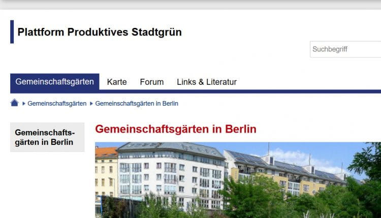 One of the four main pages of the new website Plattform Produktives Stadtgrün (source: SenUVK www 2020)