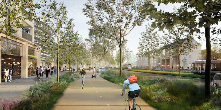Visualisation of the Parkway, the main circular route through the new urban quarter (image: KCAP 2019)