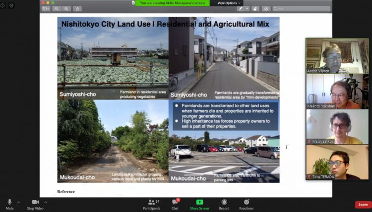 Discussing Akito Murayama's research on spatial planning and design for Tokyo's Agri-Residential Mixed Neighborhoods (source: Andre Viljoen 2020)