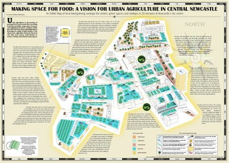 "Edible Map for Newcastle, one of several maps suggesting and describing ""edible walks"" in cities around the world by Mikey Tomkins, panel contributor (source: Mikey Tomkins 2015)"