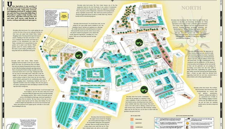 """Edible Map for Newcastle, one of several maps suggesting and describing """"edible walks"""" in cities around the world by Mikey Tomkins, panel contributor (source: Mikey Tomkins 2015)"""