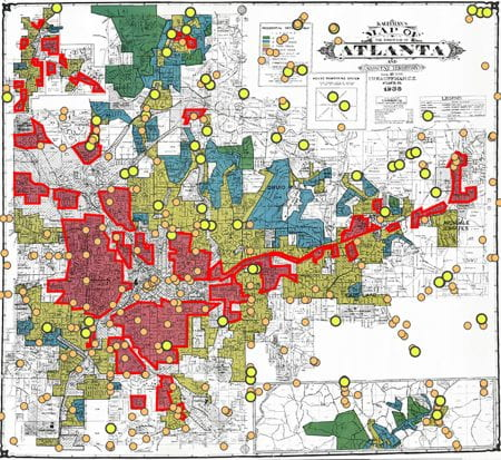 A map of Atlanta recording places of food retail (yellow and orange dots) and social demographics (red-lined areas) (source: Jerry Shannon www 2020)