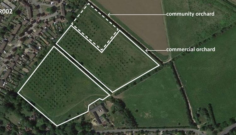 As part of the project, the Letchworth City Team started to map the potential of existing and future food-growing spaces. (source: Amélie André 2020)