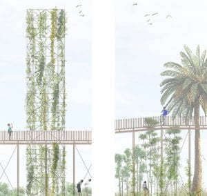Elevated light-weight bridges allow for flowing agricultural landscape and unhindered production as well for unexpected views. (source: Alkisti Volonasis and Romila Faye Strub 2020)