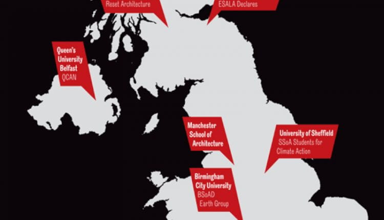 Grassroots climate activism across UK universities (source: Ben Holland (2021) Grassroots activism will give power to climate action, in: RIBA Journal, 8th January 2021)