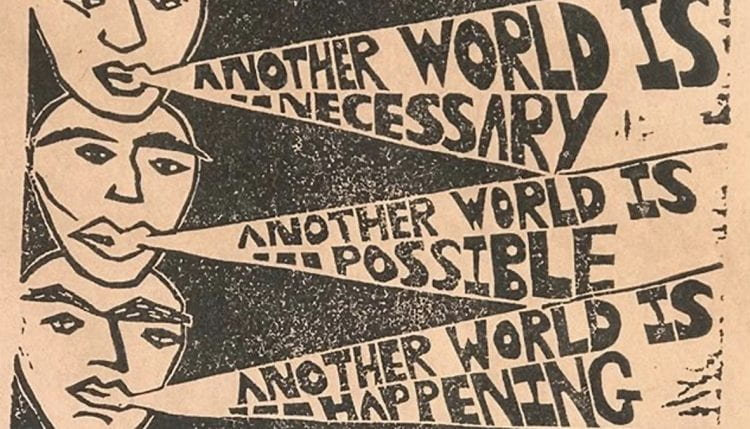 """""""Another world is necessary. Another world is possible. Another world is happening."""" An enormous message summed up by the words of Grace Lee Boggs has become the cover image of the project. (source: Hannah Lewis www 2021)"""