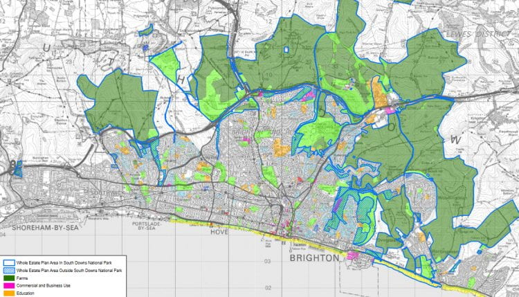 Land use of council-owned land in Brighton & Hovee. The dark green areas are farms. (source: Brighton & Hove City Council www 2021)