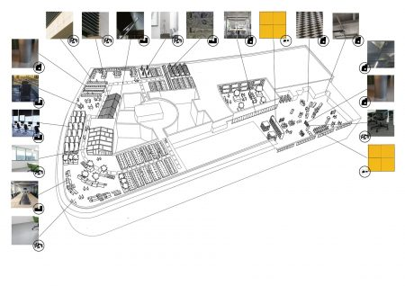 Student's proposal for an urban farm and banqueting hall integrated into the U4 Centre in Vienna. The drawing shows from which redundant buildings materials have been sourced for use in this proposal. (source: Natalia Hryszko 2021)