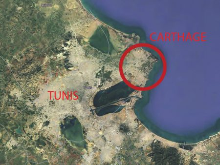 Aerial view of Carthage, today a borough of Tunis (source: University of Brighton and www 2021)