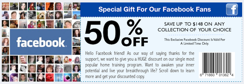 Clickable discount coupons