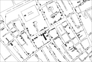 Street map showing deaths from in Soho in 1853
