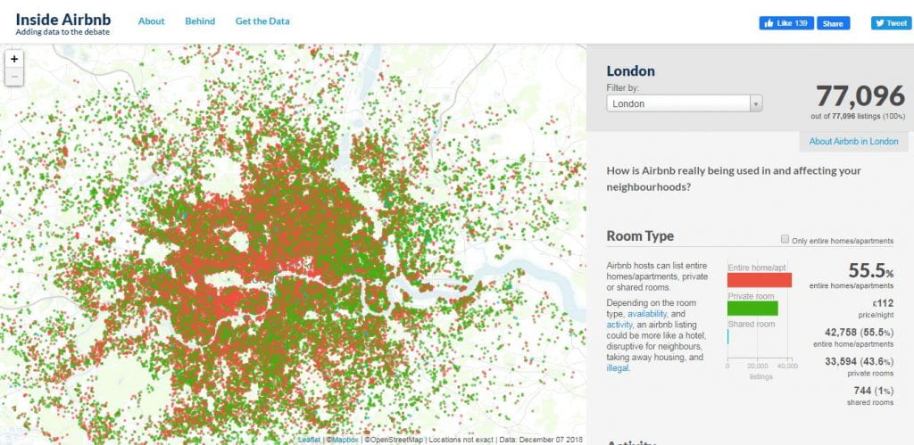 screenshot of Airbnb data in London