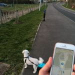 Photo of hand holding phone with map in outdoor setting