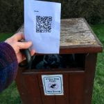Photo of QR code on poo bin