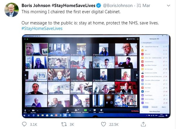 Tweet by PM Boris Johnson on digital Cabinet