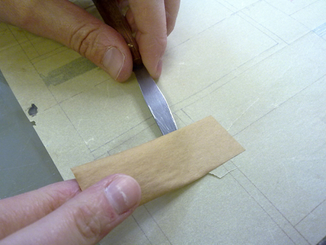 Brown tape removal, conservation, University of Brighton Design Archives, Sirpa Kutilainen