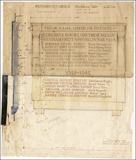 Westhampnett Church War Memorial, Max Gill, University of Brighton Design Archives, Sirpa Kutilainen