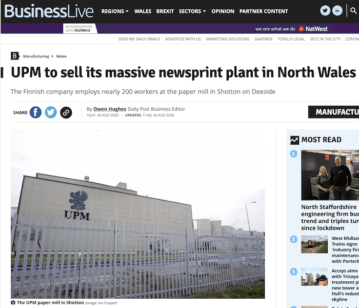 Screen grab of online article about newsprint plant closing in North Wales