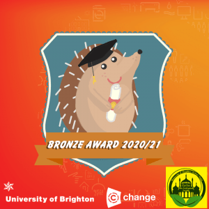 Hedgehog Friendly Campus Bronze Award 2020/21. University of Brighton, c-change and Brighton EcoSoc