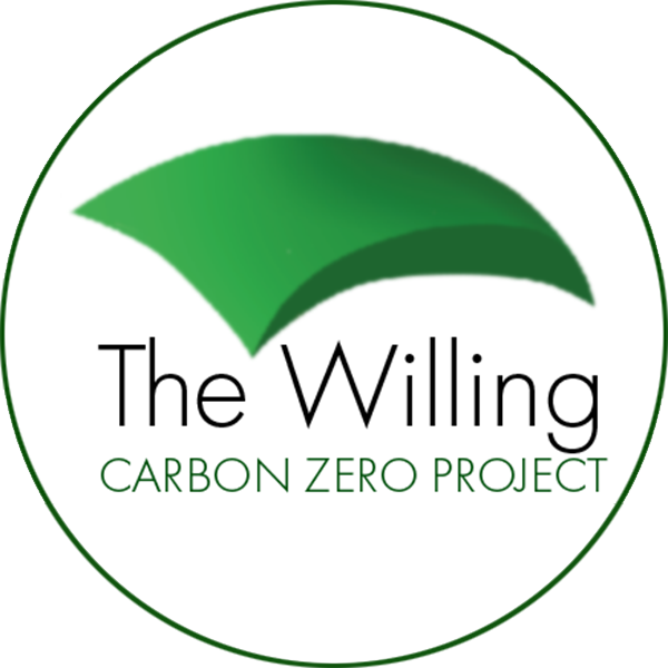 The Willing logo showing green canopy over the words The Willing carbon Zero Project