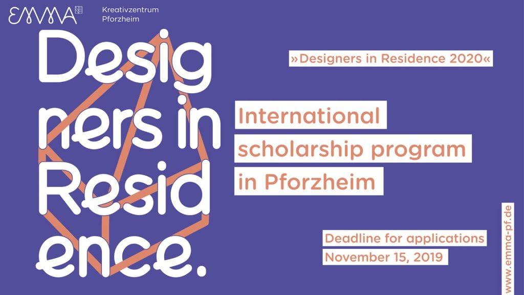 Designers in Residence - International Scholarship Program text-based poster