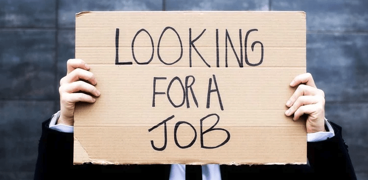 person holding up a sign saying 'looking for a job'
