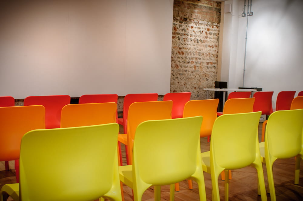 Row of chairs in a room