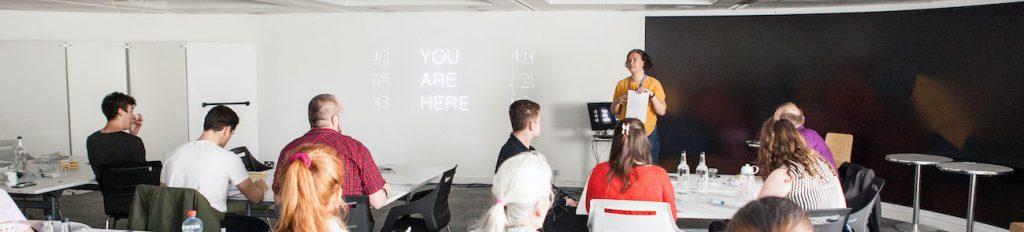 Classroom of students at a beepurple workshop