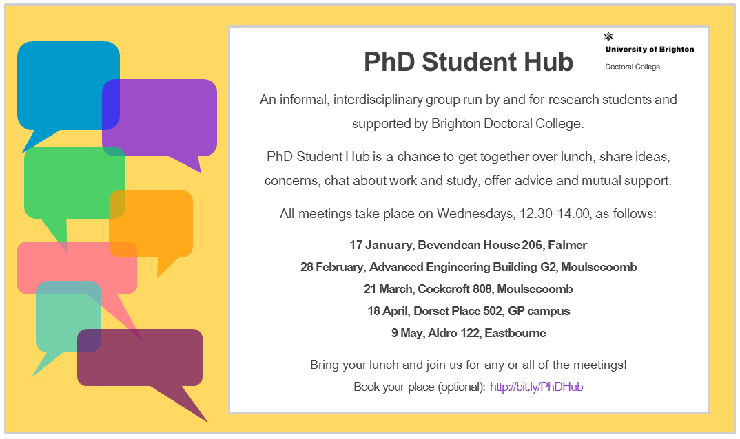 PhD advertising flyer with dates
