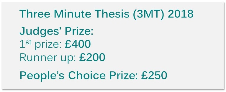 3MT 2018 Judge's 1st prize £400, runner-up £200. People's Choice prize £250