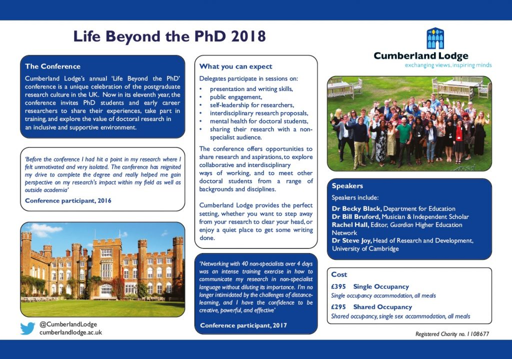 Flyer for Life Beyond the PhD conference at Cumberland Lodge