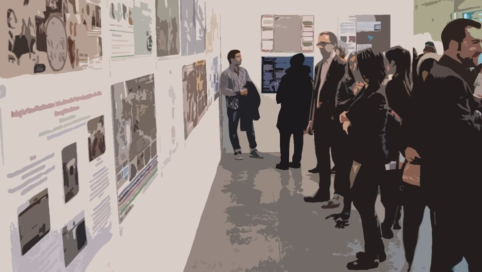 People viewing poster exhibition