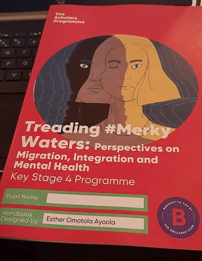 Image of the front cover of Esther's course handbook, Teading Merky Waters