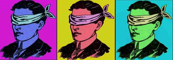 Event logo: repeat pop-art style images of a blindfolded man