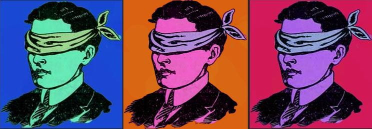 Event logo: 3 pop-art style images of a blindfolded man