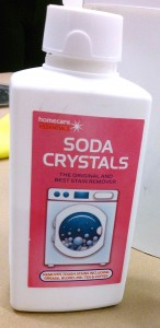 soda crystals were used to help dissolve the pigment.