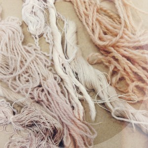 Yarn dyed with the used woad leaves to create a nude pink colour.