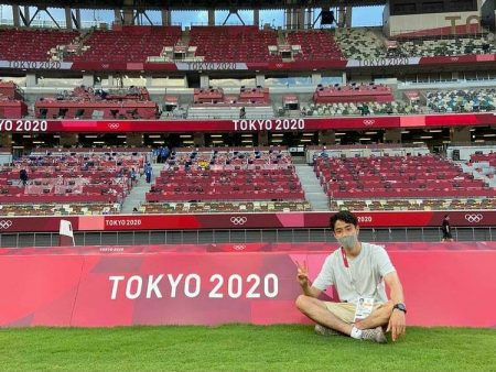 Hikari Okamoto in the Olympic stadium