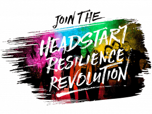 Logo with words on colourful background: Join the Headstart Resilience Revolution