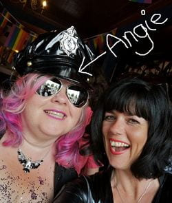 Photo of Angie Hart in hat and glasses on the left with Claire Stubbs