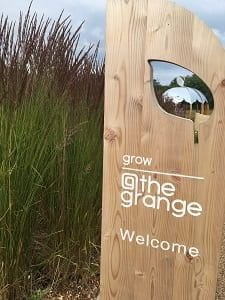 Wooden welcome sign @thegrange